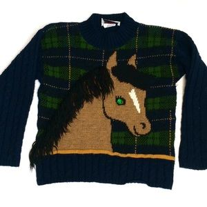 🐴 Vintage 80s girls' horse sweater plaid knit 🐴